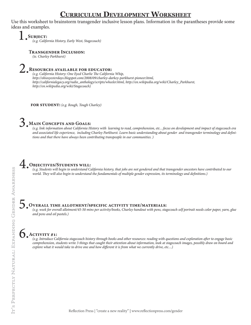 Curriculum Development Worksheet
