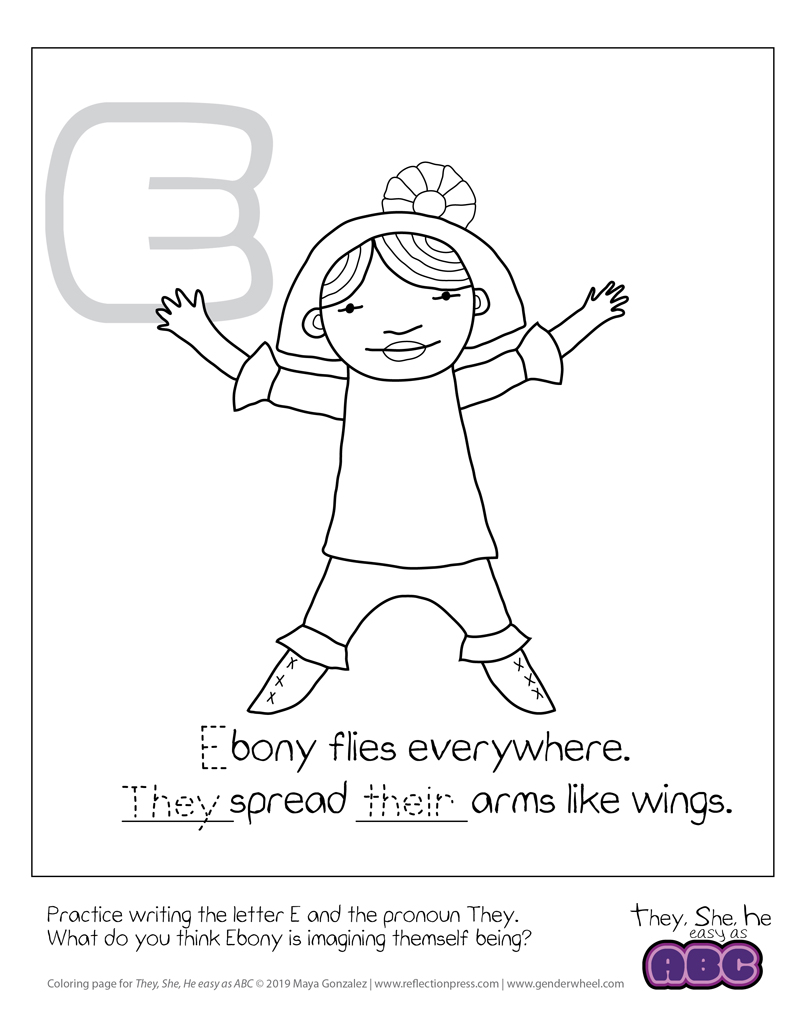 They, She, He easy as ABC coloring page - Ebony