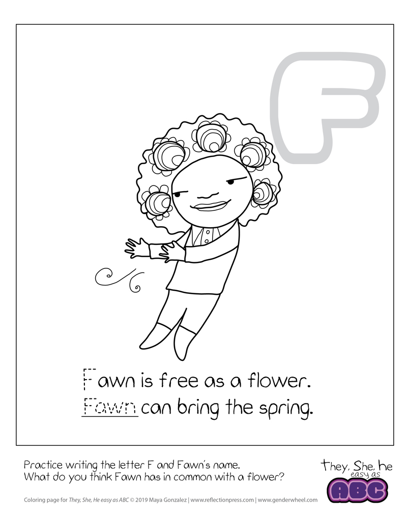 They, She, He easy as ABC coloring page - Fawn