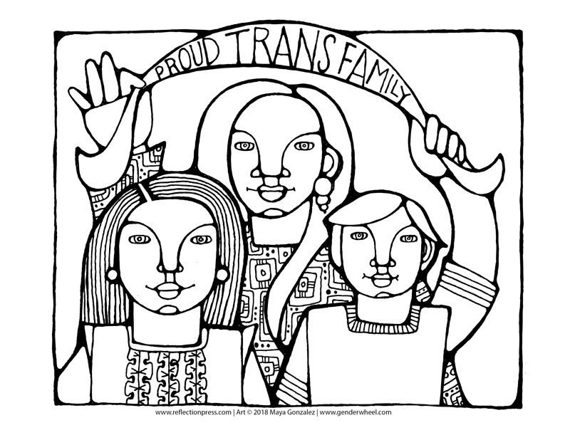 Proud Trans Family Coloring Page