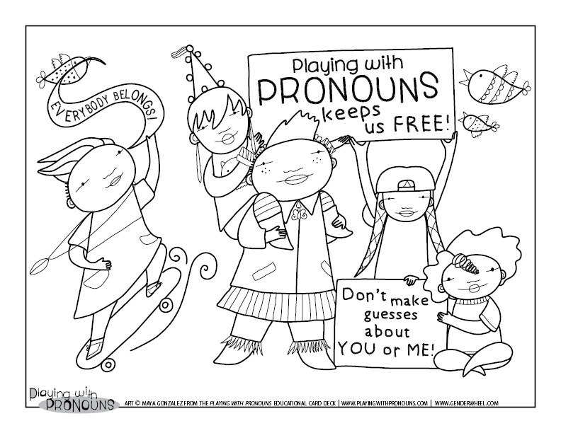 Coloring Page for Playing with Pronouns - The Gender Wheel Curriculum