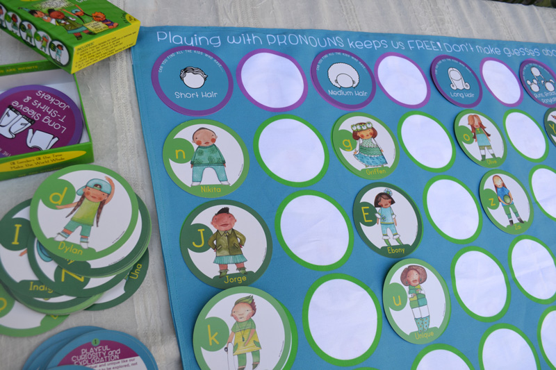 Playing with Pronouns Playmat - back side for sorting & memory games