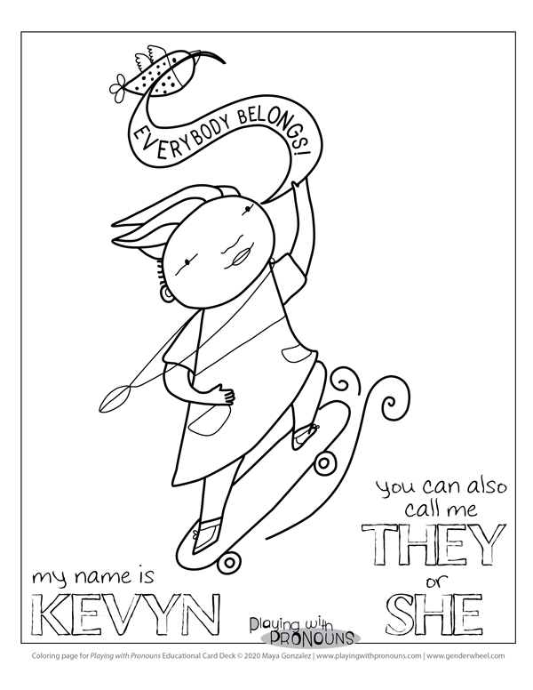Coloring Page for Playing with Pronouns - Kevyn Skating - The Gender Wheel Curriculum