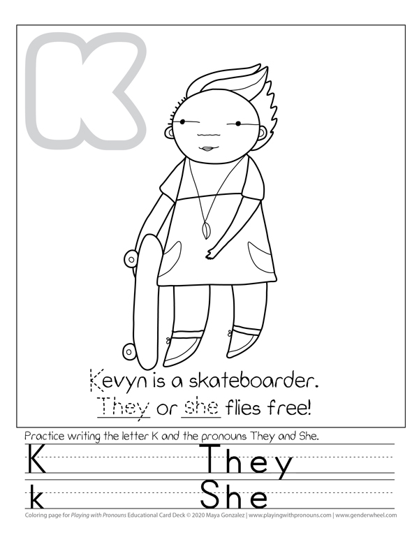 Coloring Page for Playing with Pronouns - Kevyn - The Gender Wheel Curriculum