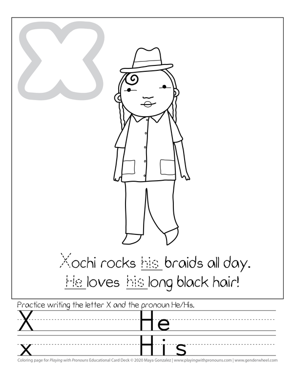 Coloring Page for Playing with Pronouns - Xochi - The Gender Wheel Curriculum